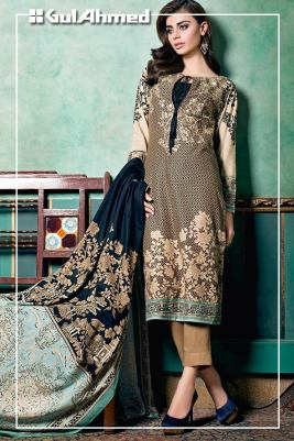Embroidered Linen Gul Ahmed Collection 2015-16 2