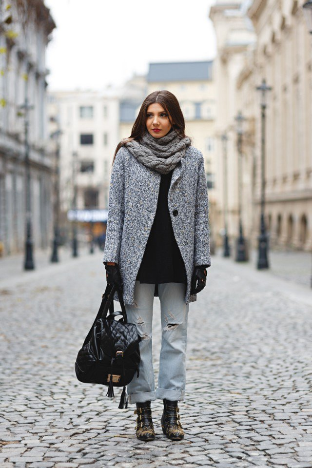 winter casual wear in gray