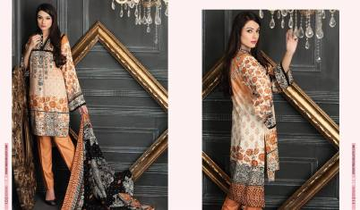 Linen Embroidered Casual Dresses By Firdous Cloth Mills 2015-16 2