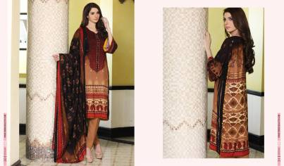 Linen Embroidered Casual Dresses By Firdous Cloth Mills 2015-16 6