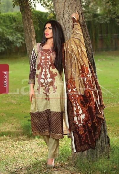 Winter Khaadi Printed Shalwar Kameez By Lala Textiles 2015-16 14