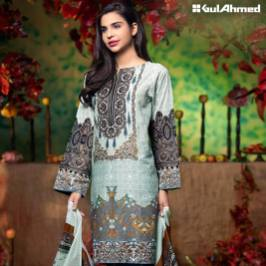 Three Piece Embroidered Lawn Gul Ahmed Collection 2016 5
