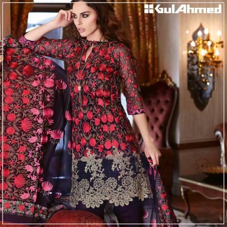 Embroidered Chiffon Pret Eid Dresses Gul Ahmed 2016