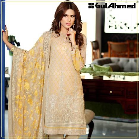 Embroidered Chiffon Pret Eid Dresses Gul Ahmed 2016 9