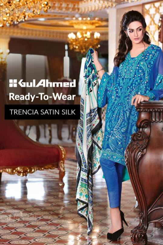 Trencia Satin Silk Eid Collection Gul Ahmed 2016