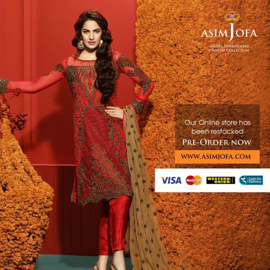 Asim Jofa Luxury Embroidered Chiffon Dresses 2016-17