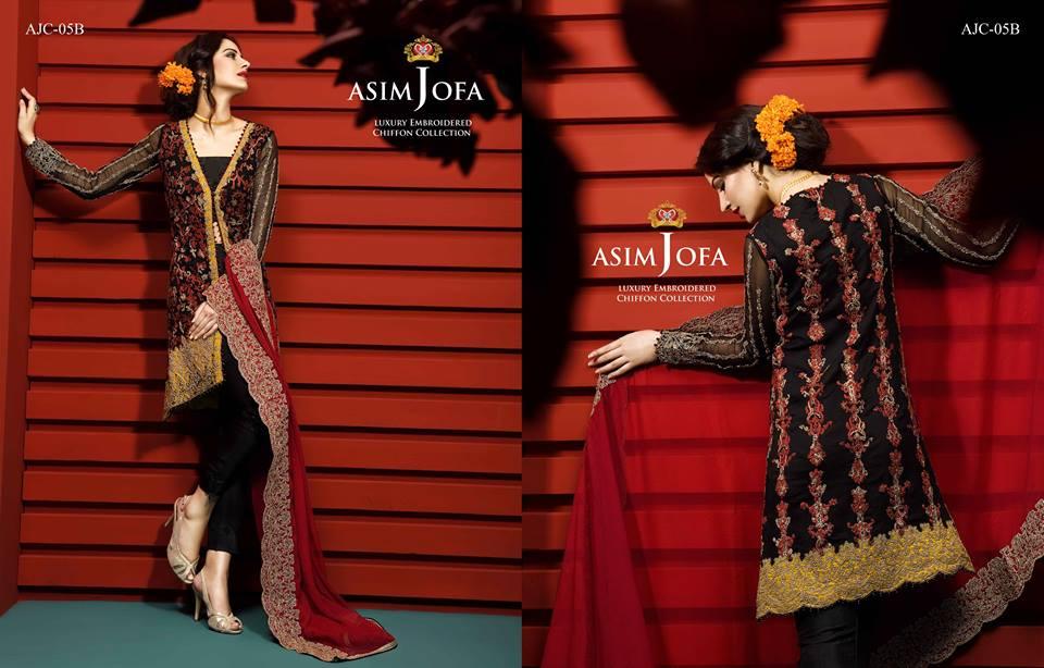 Asim Jofa Luxury Embroidered Chiffon Dresses 2016-17 7