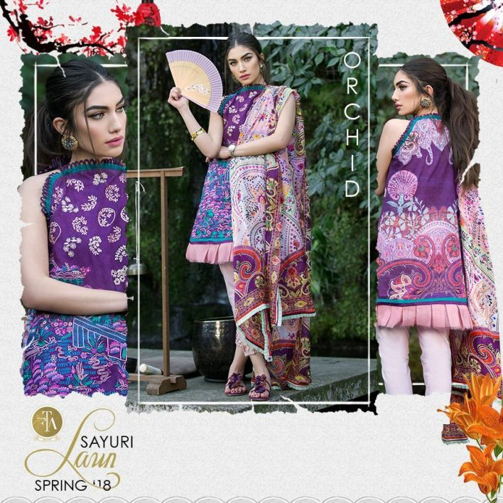 Sayuri Farah Talib Aziz Luxury Lawn Collection 2018