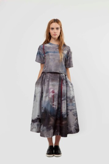 Liminal Digital Print Skirt £320 & Printed Silk Top £240