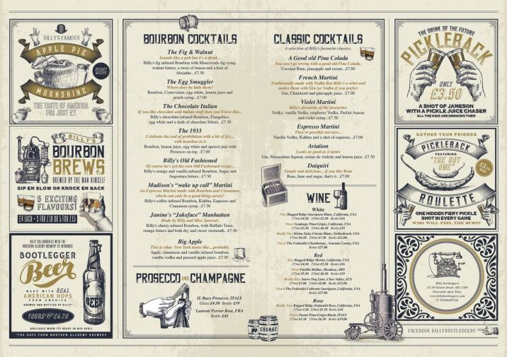 Billy Bootleggers Newcastle Menu 1