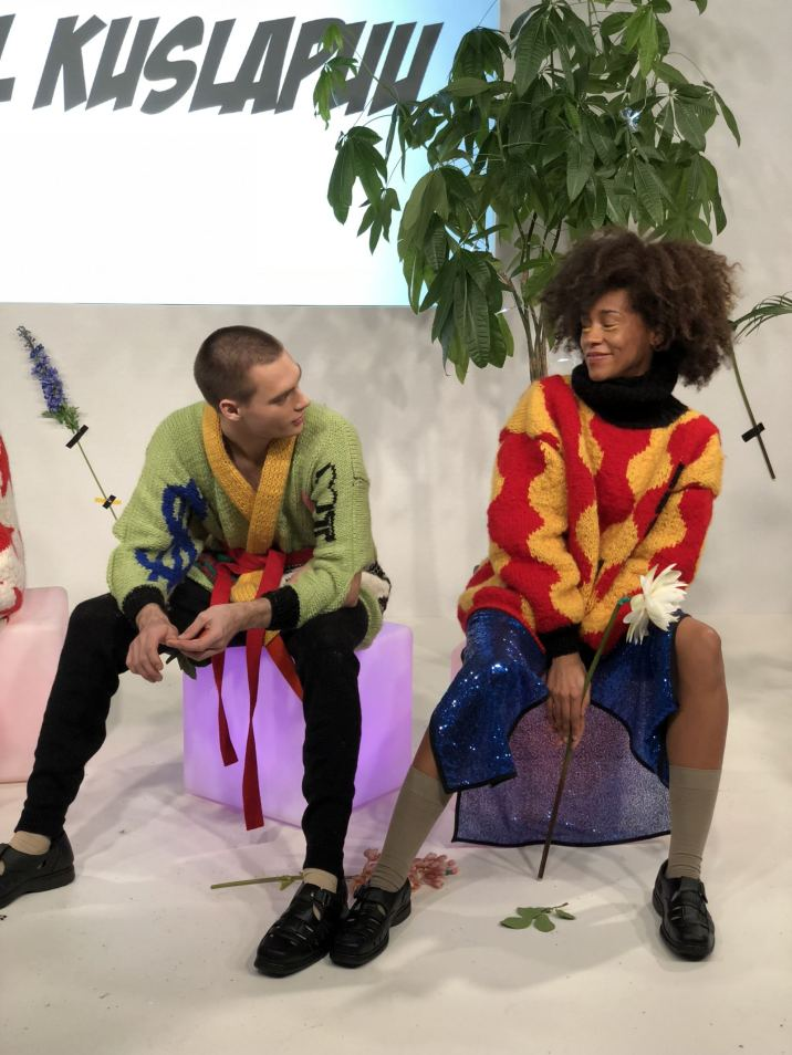 Kristel Kuslapuu FW18 Presentation at London Fashion Week 2 models chatting on stage