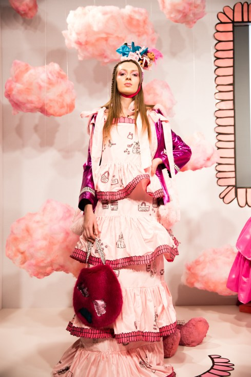 Amy Thomson FW18 Chasin' Dreams Presentation at London Fashion Week Look 1 soft pink dress with tiers