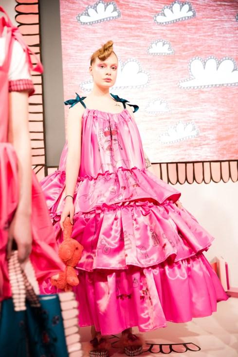 Amy Thomson FW18 Chasin' Dreams Presentation Look 3 at London Fashion Week tiered fuschia gown