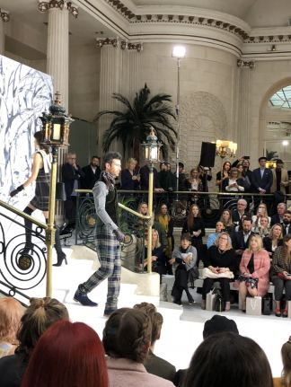 A male model on the co-ed runway at Paul Costelloe FW18 at London Fashion Week