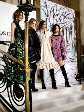 A shot of four models at Paul Costelloe's FW18 show at London Fashion Week at The Waldorf hotel