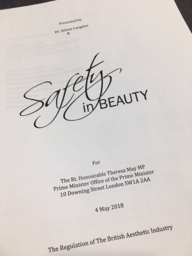 A dossier of botched aesthetic treatment prepared by the safety in beauty campaign team for prime minister Theresa May