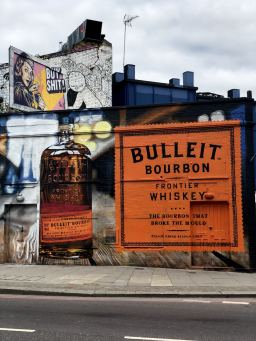 Street Art in Shoreditch: A street art painting of Bulleit Bourbon whiskey