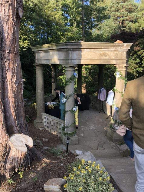 The stone gazebo at the entrance to the Japanese ornamental garden hidden away at the rear of slaley Hall in Northumberland - Fashion Voyeur blog