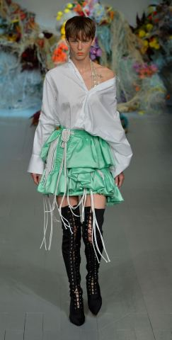 Fyodor Golan SS19 runway show at London Fashion Week shot by Chris Moore for Fashion Voyeur Blog Look 1