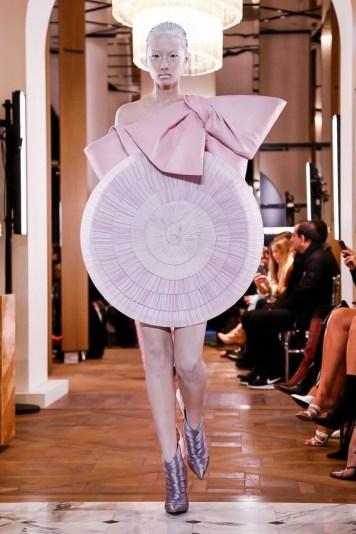 Circular Balmain dress in baby pink for Spring 2019 at Paris Couture Week for Spring 2019