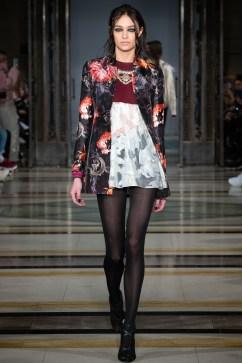 A solo model on the runway for Rocky Star FW19 at london Fashion Week Fashion Scout Season for Pixie Tenenbaum's Fashion Voyeur Blog
