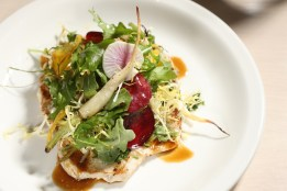 Goffle Road Farm Pounded Chicken Breast with market salad, shallots, and herbs