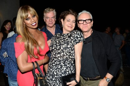 """Laverne Cox, Christopher McDonald, Sean Young, Malcolm McDowell== The Cinema Society with Kate Spade and Ketel One Vodka host the after party for Sony Pictures Classics """"Grandma""""== Jimmy at the James Hotel, NYC== August 18, 2015== ©Patrick McMullan== Photo - Clint Spaulding/PatrickMcMullan.com== =="""