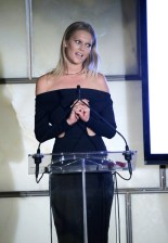 NEW YORK, NY - SEPTEMBER 10: Model Toni Garrn speaks onstage during The Daily Front Row's Third Annual Fashion Media Awards at the Park Hyatt New York on September 10, 2015 in New York City. (Photo by John Lamparski/Getty Images for The Daily Front Row)