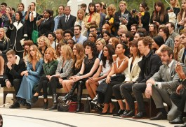 LONDON, ENGLAND - SEPTEMBER 21: (L to R) Gabriel-Kane Day-Lewis, Suki Waterhouse, Sienna Miller, Kate Moss, Cara Delevingne, St Vincent, Naomie Harris, guest, Sophie Hunter and Benedict Cumberbatch attend the Burberry Womenswear Spring/Summer 2016 show during London Fashion Week at Kensington Gardens on September 21, 2015 in London, England. (Photo by David M. Benett/Dave Benett/Getty Images for Burberry) *** Local Caption *** Gabriel-Kane Day-Lewis;Suki Waterhouse;Sienna Miller;Kate Moss;Cara Delevingne;St Vincent;Naomie Harris;Sophie Hunter;Benedict Cumberbatch