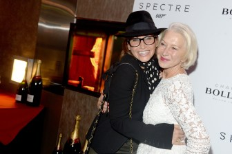 "Gina Gershon, Helen Mirren== Champagne Bollinger with The Cinema Society host a pre-release screening of ""Spectre""== IFC Center, NYC== November 5, 2015== ©Patrick McMullan== Photo - Clint Spaulding / PMC== =="