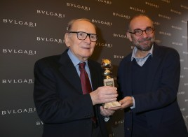 Ennio Morricone and director Giuseppe Tornatore attend the Golden Globes Ceremony Honoring Ennio Morricone hosted by BVLGARI at Bulgari DOMVS on January 30, 2016 in Rome, Italy. (Photo by Elisabetta Villa/Getty Images for BVLGARI) *** Local Caption *** Ennio Morricone;Giuseppe Tornatore