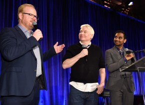 """""""NEW YORK, NY - APRIL 20: Jim Gaffigan, Mike Myers and Aziz Ansari speak onstage during Food Bank Of New York City's Can Do Awards 2016 hosted by Michael Strahan and Mario Batali on April 20, 2016 in New York City. (Photo by Kevin Mazur/Getty Images for Food Bank of New York City)"""""""