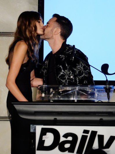NEW YORK, NY - SEPTEMBER 08: (EXCLUSIVE ACCESS, SPECIAL RATES APPLY) Female Model of the Year Kaia Gerber and Marc Jacobs speak onstage during The Daily Front Row's 4th Annual Fashion Media Awards at Park Hyatt New York on September 8, 2016 in New York City. (Photo by Larry Busacca/Getty Images)