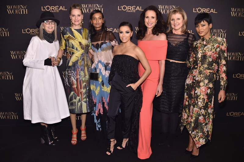 NEW YORK, NY - NOVEMBER 16: Diane Keaton, Aimee Mullins, Liya Kebede, Eva Longoria, Andie MacDowell, Arianna Huffington and Tamron Hall attend the L'Oreal Paris Women of Worth Celebration 2016 Arrivals on November 16, 2016 in New York City. (Photo by Michael Loccisano/Getty Images for L'Oreal) *** Local Caption *** Diane Keaton, Aimee Mullins, Liya Kebede, Eva Longoria, Andie MacDowell, Arianna Huffington, Tamron Hall