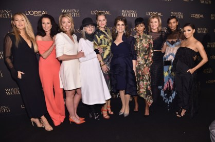 NEW YORK, NY - NOVEMBER 16: Blake Lively, Andie MacDowell, Brooke Baldwin, Diane Keaton, Aimee Mullins, Karen T. Fondu, Tamron Hall, Arianna Huffington, Liya Kebede and Eva Longoria attends the L'Oreal Paris Women of Worth Celebration 2016 Arrivals on November 16, 2016 in New York City. (Photo by Michael Loccisano/Getty Images for L'Oreal) *** Local Caption *** Blake Lively, Andie MacDowell, Brooke Baldwin, Diane Keaton, Aimee Mullins, Karen T. Fondu, Tamron Hall, Arianna Huffington, Liya Kebede, Eva Longoria