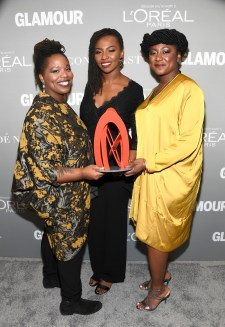 LOS ANGELES, CA - NOVEMBER 14: (L-R) Honorees Patrisse Cullors, Opal Tometi, and Alicia Garza pose with an award during Glamour Women Of The Year 2016 at NeueHouse Hollywood on November 14, 2016 in Los Angeles, California. (Photo by Frazer Harrison/Getty Images for Glamour) *** Local Caption *** Alicia Garza;Patrisse Cullors;Opal Tometi