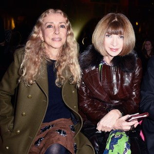 PARIS, FRANCE - JANUARY 26: (L-R) Franca Sozzani, Anna Wintour and Diego Della Valle attend the Schiaparelli show as part of Paris Fashion Week Haute Couture Spring/Summer 2015 on January 26, 2015 in Paris, France. (Photo by Pascal Le Segretain/Getty Images)