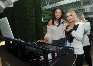 Tracy Anderson celebrates with DJ Hannah Bronfman at the opening of the Tracy Anderson 59th Street studio, Wednesday, March 15, 2017 in New York. (Photo by Diane Bondareff/Invision for Tracy Anderson/AP Images)