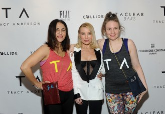 Director Jenni Konner, left, Tracy Anderson, center, and Lena Dunham celebrate the opening of the Tracy Anderson 59th Street studio, Wednesday, March 15, 2017 in New York. (Photo by Diane Bondareff/Invision for Tracy Anderson/AP Images)