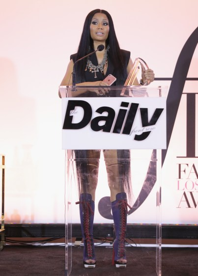 WEST HOLLYWOOD, CA - APRIL 02: Honoree Nicki Minaj accepts the Fashion Rebel award onstage during the Daily Front Row's 3rd Annual Fashion Los Angeles Awards at Sunset Tower Hotel on April 2, 2017 in West Hollywood, California. (Photo by Neilson Barnard/Getty Images)