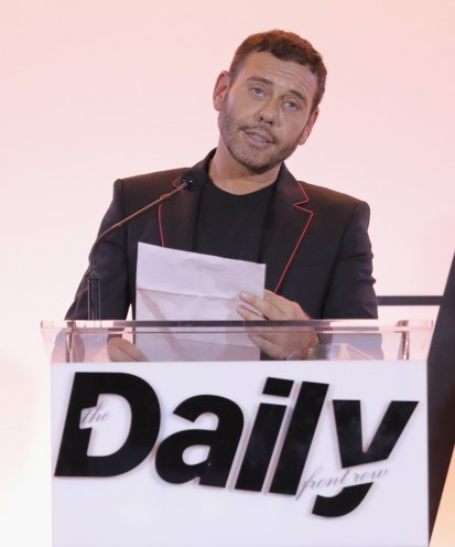 WEST HOLLYWOOD, CA - APRIL 02: Honoree Mert Alas accepts the Creative of the Year award onstage during the Daily Front Row's 3rd Annual Fashion Los Angeles Awards at Sunset Tower Hotel on April 2, 2017 in West Hollywood, California. (Photo by Neilson Barnard/Getty Images)