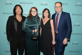 NEW YORK, NY - APRIL 19: (L-R) Stephen Gan, Harper's Bazaar Editor-in-Chief Glenda Bailey, Laurie Carey and David Carey attend Harper's BAZAAR 150th Anniversary Event presented with Tiffany & Co at The Rainbow Room on April 19, 2017 in New York City. (Photo by Andrew Toth/Getty Images for Harper's BAZAAR)