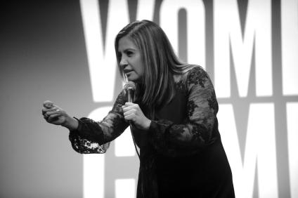 NEW YORK, NY - JUNE 13: (EDITORS NOTE: Image has been converted to Black and White. Color version is available) Comedian Cristela Alonzo performs on stage as ELLE hosts Women In Comedy event with July Cover Star Kate McKinnon at Public Arts at Public on June 13, 2017 in New York City. (Photo by Brad Barket/Getty Images for ELLE)