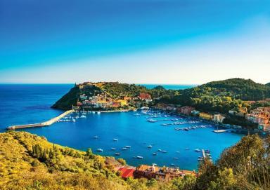 A scenic view of Porto Ercole, Italy