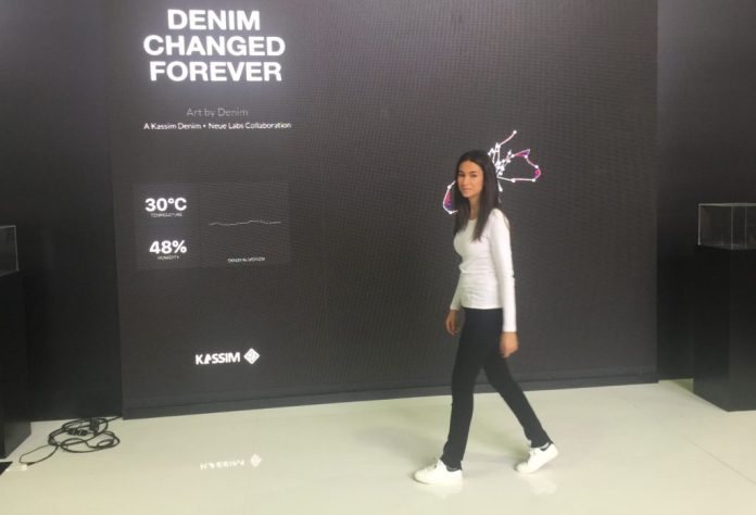 Model's movement creates digital art wearing a pair of jeans by Kassim Denim x Automat