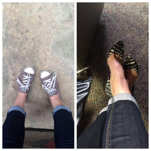 Left: Chuck Taylors, from      , $    Right: BCBG, $