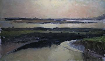 "Sunset over Young's Bay, Astoria, Or. by Robert Paulmenn Oil ~ 12"" x 20"""