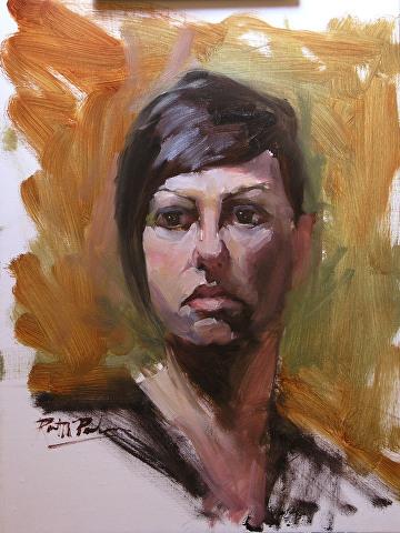 "Portrait Study of Dana by Robert Paulmenn Oil ~ 16"" x 12"""