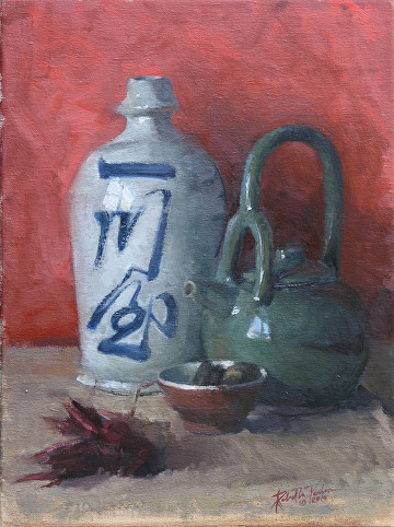 "Tea and Sake by Robert Paulmenn Oil ~ 16"" x 12"""