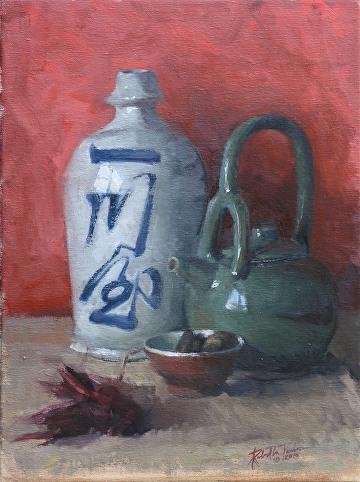 """Tea and Sake by Robert Paulmenn Oil ~ 16"""" x 12"""""""